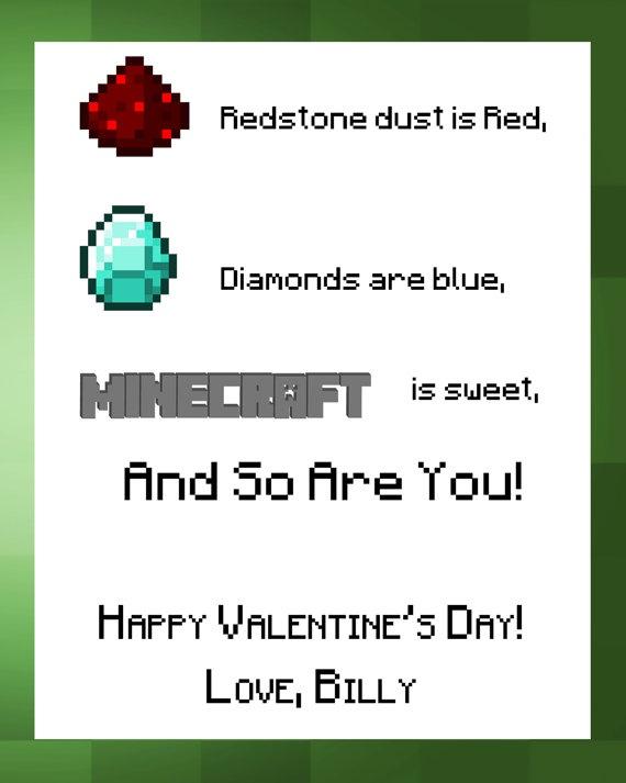 THREE Minecraft Valentine Printables by PicklePrints on Etsy, $17.00