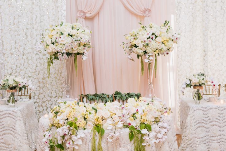 Such a romantic set up for the head table decor - lots of flower arrangements containing hydrangeas, roses, dahlias, orchids  http://www.fusion-events.ca/