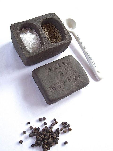 Little Brick House Clayworks: New. Black clay Salt & Pepper Pot