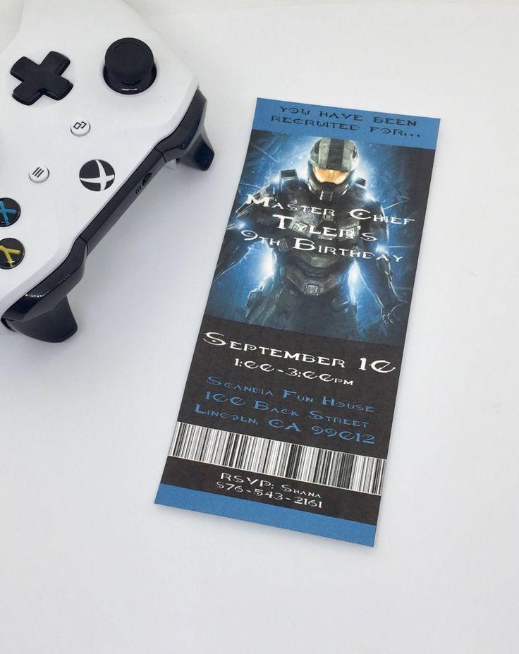 indianjones birthday party invitations printable%0A Halo Birthday Invitations  Ticket Printable Halo Invitations  Boy Birthday   Teen Birthday  Halo