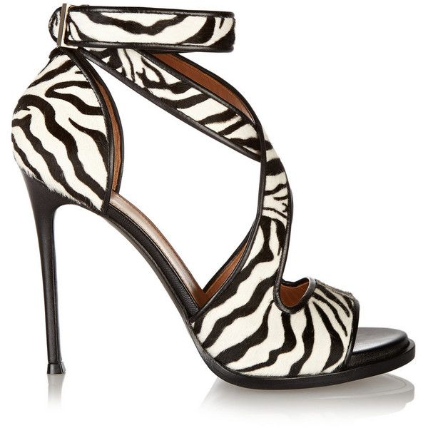 Givenchy Nilenia sandals in zebra-print calf hair with leather trim featuring polyvore fashion shoes sandals heels zebra print heeled sandals pony hair shoes strappy sandals strap shoes zebra sandals