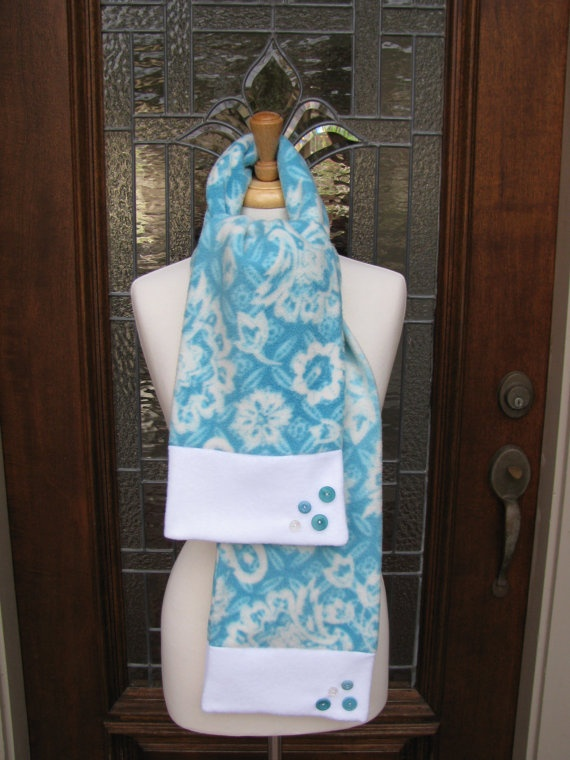 Turquoise & White Floral Fleece Scarf by PicksNFinds4U on Etsy, $20.00