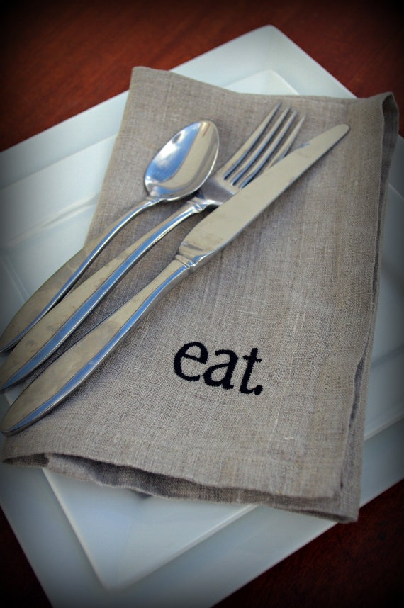 Linen Napkins in NATURAL Set of 6 Typography One by betsygrace, $72.00