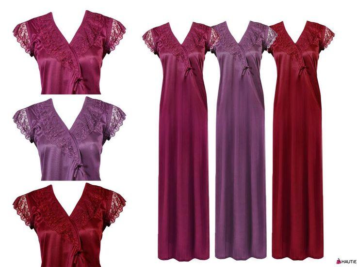 HAUTIE LADIES NIGHTIES SHORT SLEEVE SATIN NIGHTY WOMENS NIGHTDRESS LACE 8-16 in Clothes, Shoes & Accessories, Women's Clothing, Lingerie & Nightwear | eBay