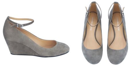 grey wedges (love), actually found at https://www.maraisusa.com but sold out