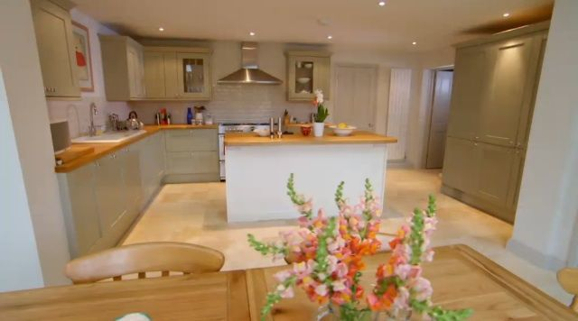 """Painted internal kitchen, from the Allan's in Surrey on """"Double Your House for Half the Money"""".  Cost around 9K GBP, from Howden's."""