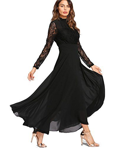 af2bd0908bcd Roiii Women's Formal Floral Lace Chiffon Long Sleeve Evening Cocktail Party  Maxi Dress