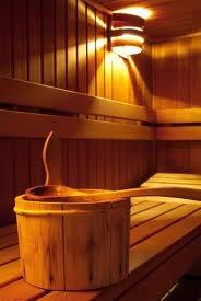 Traditional Finnish Sauna. Dry steam bath.