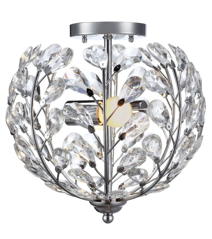 Home Depot - Downstairs Hallway - 2 Light Flush Mount Ceiling Light 11.5 Inch - Chrome with Crystal Glass Shade