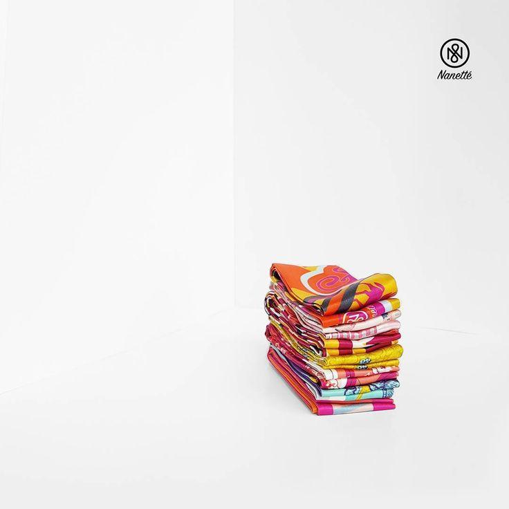 Cuteness Overload! Twilly Stack #scarf #trianglescarf #photography #productphotography #scarfphotography #twilly #catalog #orange #pink