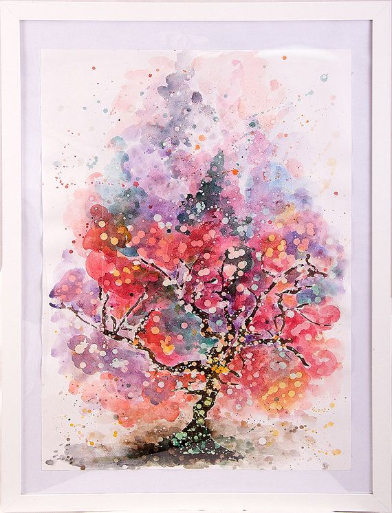 Miracle Tree painting watercolor 2012 by TheGrains on Etsy, $100.00
