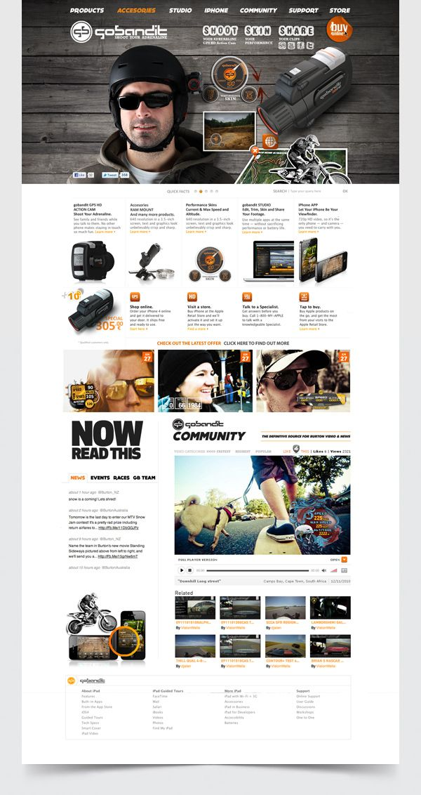 Gobandit Action Cam:  Internet Site, Webdesign Inspirations, Web Site, Gobandit Action, Web Webdesign, Web Design Inspiration, Webdesign Website, Designinspiration, Website Designs