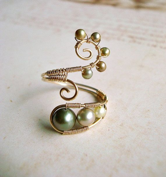 Green Pearl Wire Ring, Gold Filled Wire Wrapped Ring With Green Freshwater Pearls, Adjustable Wire Weave Ring.