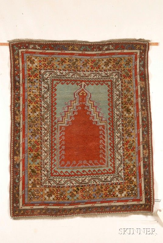 Kirshehir Prayer Rug, Central Anatolia, last quarter 19th century,  4 ft. x 3 ft. 3 in.    | Skinner Auctioneers Sale 2436