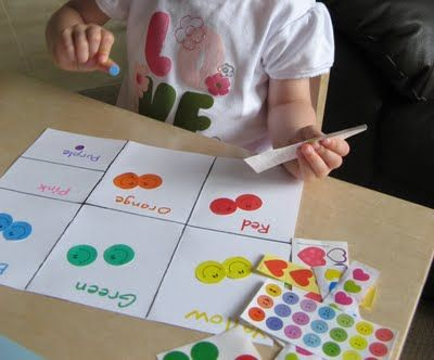 sorting colours with stickers - Colour Games For 3 Year Olds