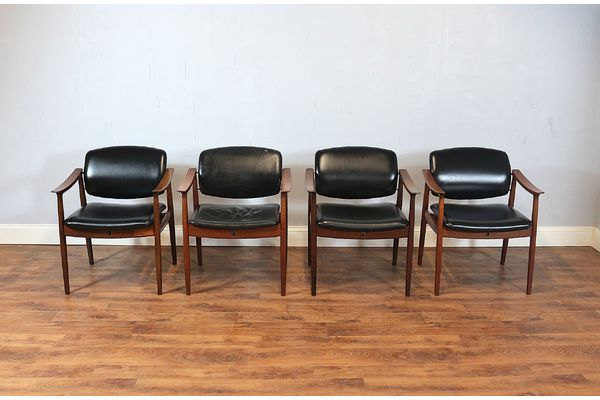 4 France & Son Danish Teak Elbow Chairs, Dining, Carvers, Vintage, Retro, Mid Century   vinterior.co