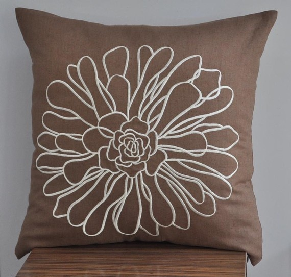 18 x 18 Pillow Cover Brown Throw Pillow Cover Cream by KainKain, $20.00