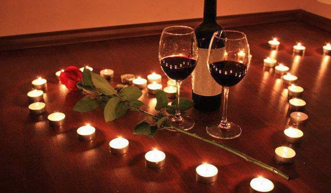 romantic night ideas | Wine candles rose, tips romantic night in