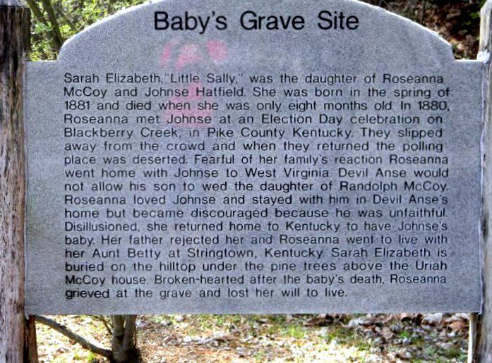site where Roseanna and Johnse's baby is buried as is Roseanna - Hatfields & McCoys