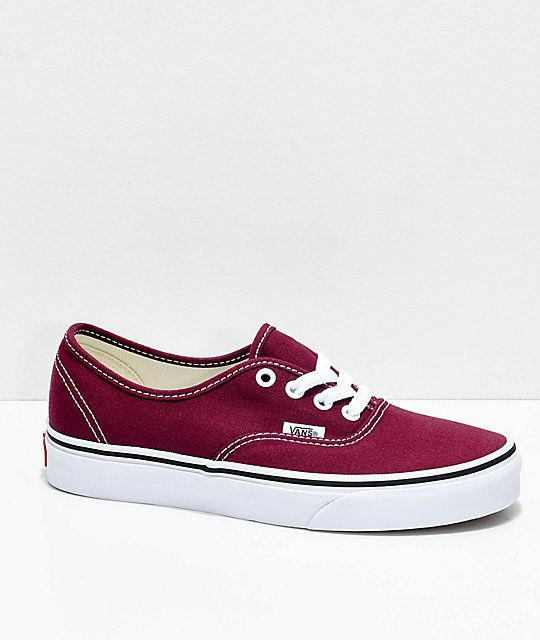 5dbf1d98647e Vans Authentic Burgundy   White Skate Shoes in 2019