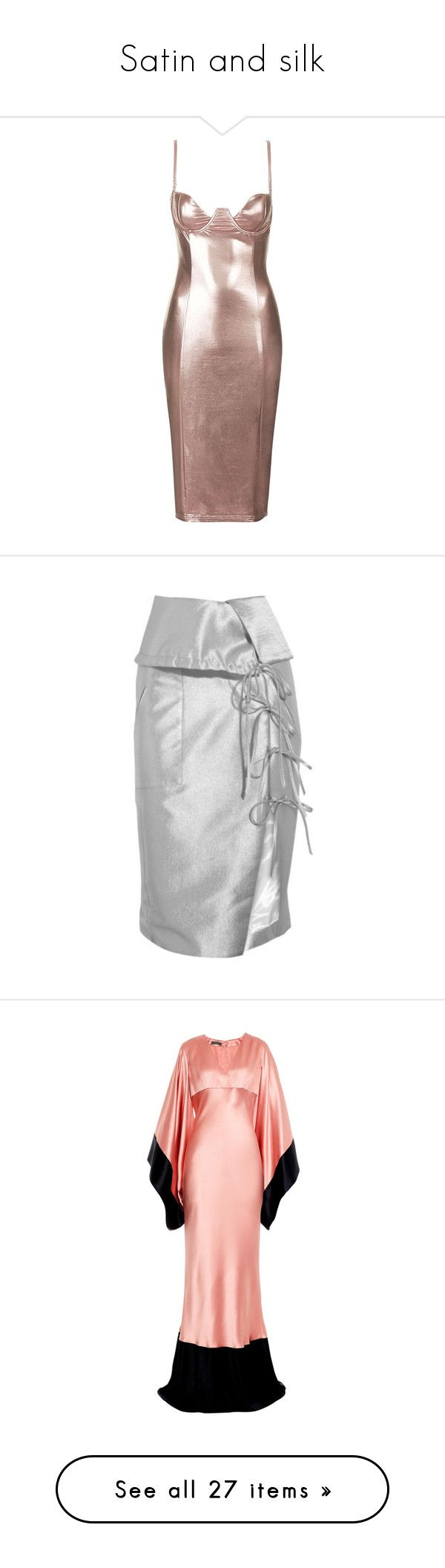 """""""Satin and silk"""" by mbymme ❤ liked on Polyvore featuring dresses, rose gold, night out dresses, cocktail party dress, bodycon dress, brown dress, holiday party dresses, skirts, lace up skirt and crepe skirt"""