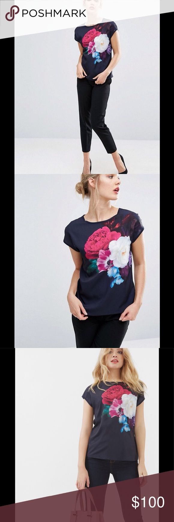 """NEW IN!!!💝💘💖 ZEENA T - Shirt Add a touch of romance to your weekend ensembles with the charming ZEANA T-shirt. Flourished with Ted's Blushing Bouquet print, this dreamy piece will team perfectly with your favourite pair of jeans. THE FINER DETAILS Details: * Ted Baker womenswear collection * Blushing Bouquet print * Cap sleeved * Round neck * Our model is 5'9.5"""" and wears a size 2 Care & Fabric: * Fabric Content:Woven: 100% Polyester; Knit: 100% Lyocell * Care information:Hand wash, do…"""