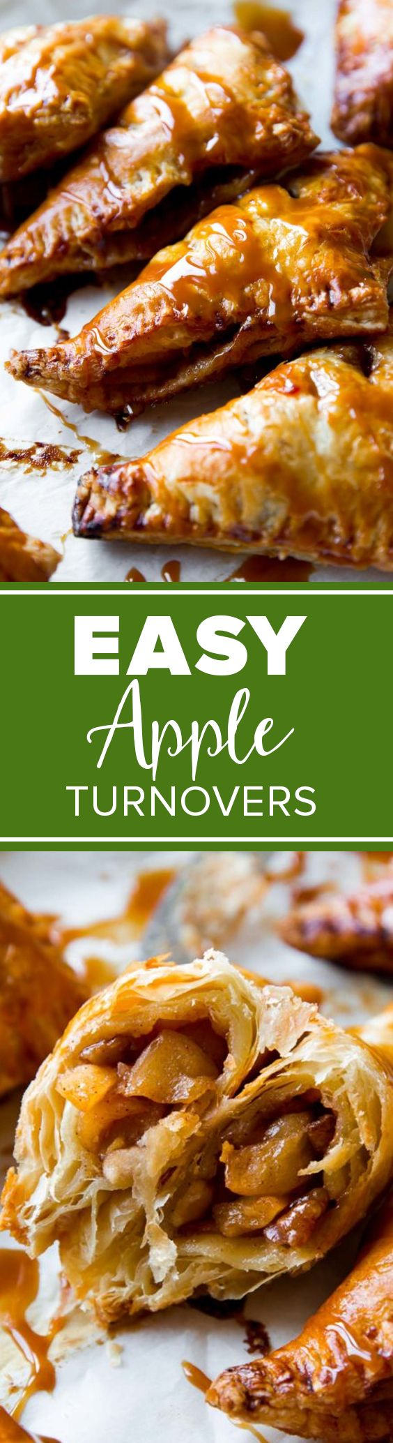 Apple filled puff pastry with caramel! Quick and easy caramel apple turnovers recipe http://sallysbakingaddiction.com/2013/09/10/caramel-apple-turnovers/