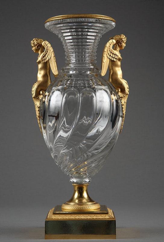 ❤ - Crystal vase with gilt bronze mounts / Vase en cristal