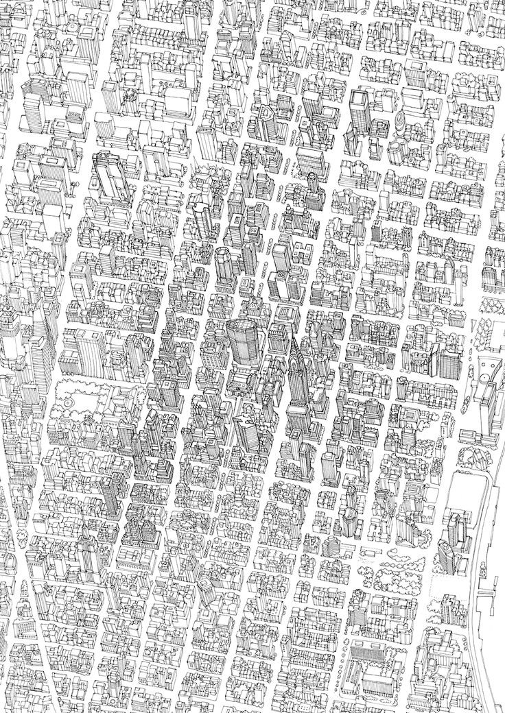 Bird's Eye View Map of Manhattan for GCP Annual Report Abi Daker 2013