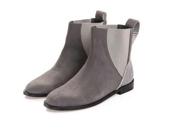 Clearance  Boots on sale -  Ankle Boots for Womens  - Nubuck Leather Ankle Boots - Flat Ankle Boots - Grey Boots - Leather Boots Women Boots