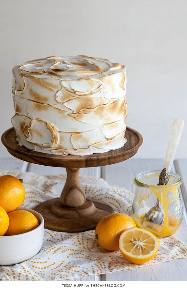 Lemon Meringue Cake | with lemon curd and toasted meringue frosting  | by Tessa Huff for TheCakeBlog.com