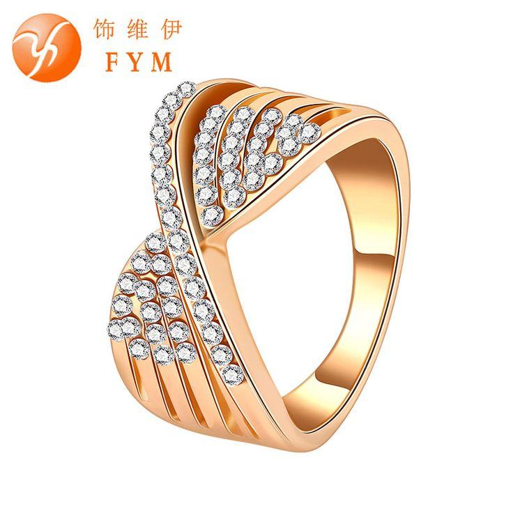 FYM 브랜드 라인 스톤 골드 도금 약혼 반지 활 매듭 크리스탈 애호가 약속 반지 남성 웨딩 RI0065