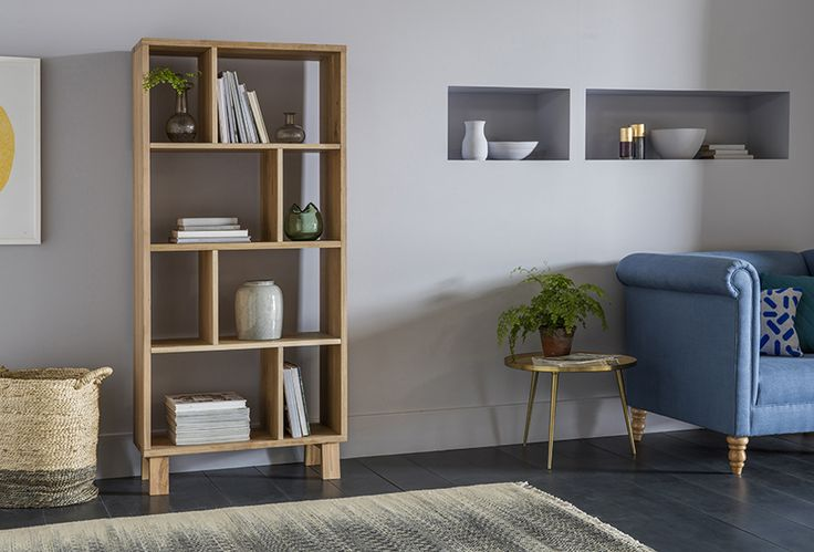 Webster Shelving Unit with Simon Loveseat, Rochelle Side Table, Cyrus Rug & Borth Basket