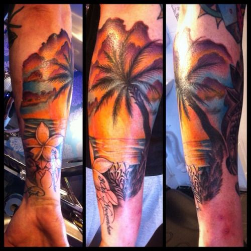546 best images about palmtree tattoos on pinterest for Beach sunset tattoos