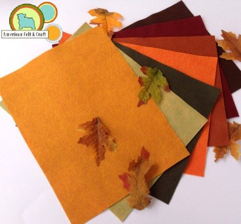 Leaf Peeping - Autumn Leaves, Lemongrass, Sushi, Monarch Butterfly, Aurburn, Beet, and Saddle Brown Felt Sheets