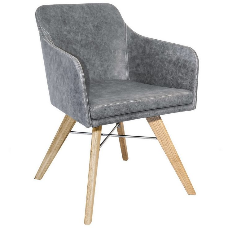 Armlehnstuhl Leder Dakota grau - Stühle - Sitzgelegenheiten