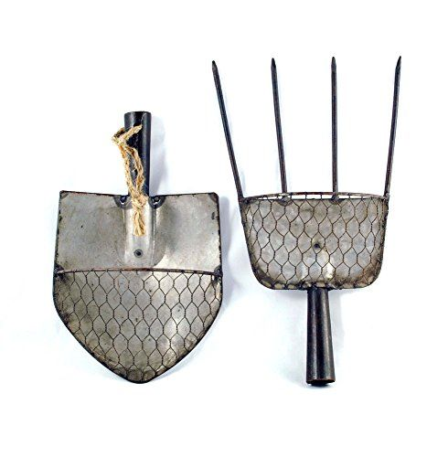 Rustic pitchfork shovel basket hanging wall decor set of 2 sullivans - Sullivans wholesale home decor set ...