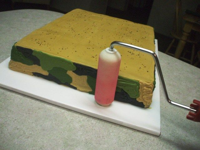 Buttercream Camo tutorial - but I'm pinning it for the general idea of using a foam paint roller as a buttercream icing smoother.  I just don't know if I need to dust the roller with cornstarch or use as is - I couldn't see any instructions, just the photos in the tutorial