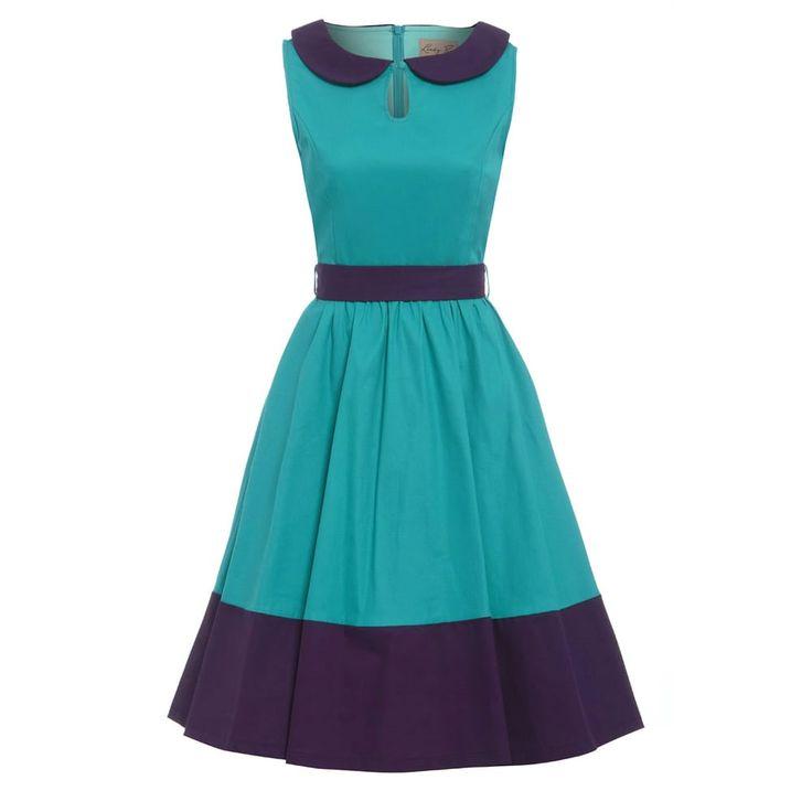 Lindy Bop Swing Beattie jurk met Peter Pan kraag turquoise/paars - Vin