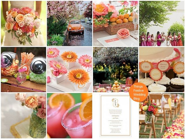 Pantone colors:  Tangerine Tango and Cabaret also known as orange and fuchsia