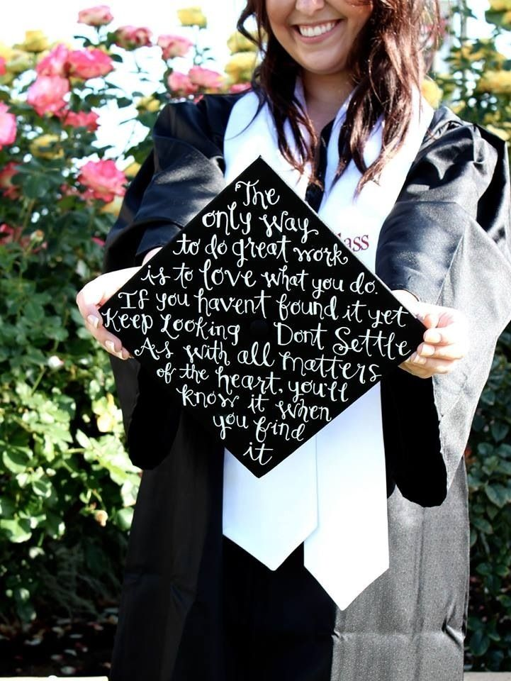 Kailie decorate her SDSU graduation cap using a white Uniball Signo pen that we sell.: