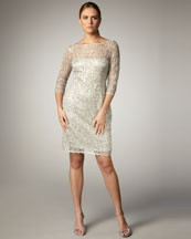NMS12_T3LKM NMS12_T3LKM NMS12_T3LKM    Click each picture to select  	  Kay Unger New York Illusion-Sleeve Beaded Dress