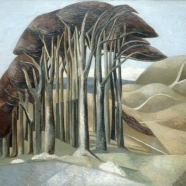 """Wood on the Downs"" by Paul Nash, 1930. This is a painting of Ivanhoe Beacon, on the Ridgeway, in the Chilterns. Nash and Ravilious were inspired by the new insight aerial photography offered to their perception of the landscape"