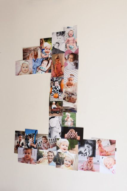 I love this photo idea for first birthday party!  Actually I wouldn't mind doing this every birthday for Therese...like a recap in pictures...then frame!