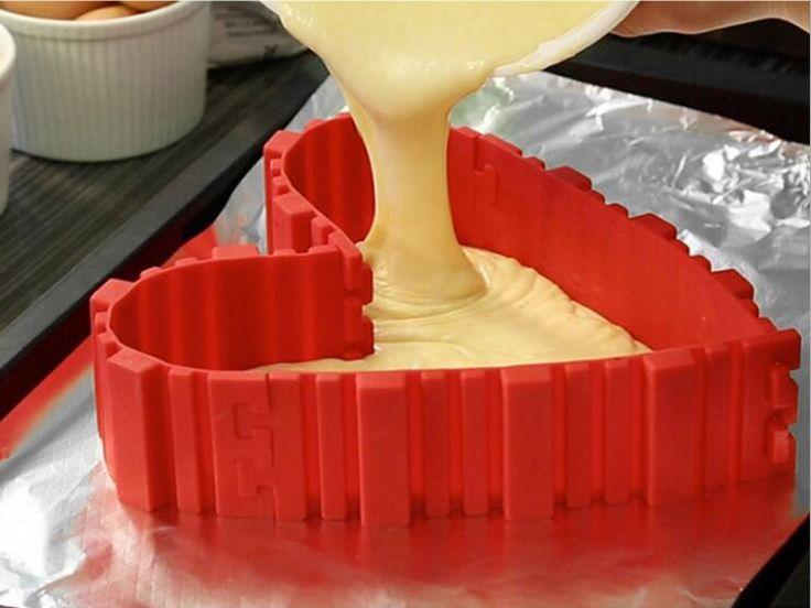 4 unids/set serpiente mágica de silicona para hornear molde de la torta diy cuadrado para hornear rectangular en forma de corazón molde de la torta redonda pastelería herramientas 212g