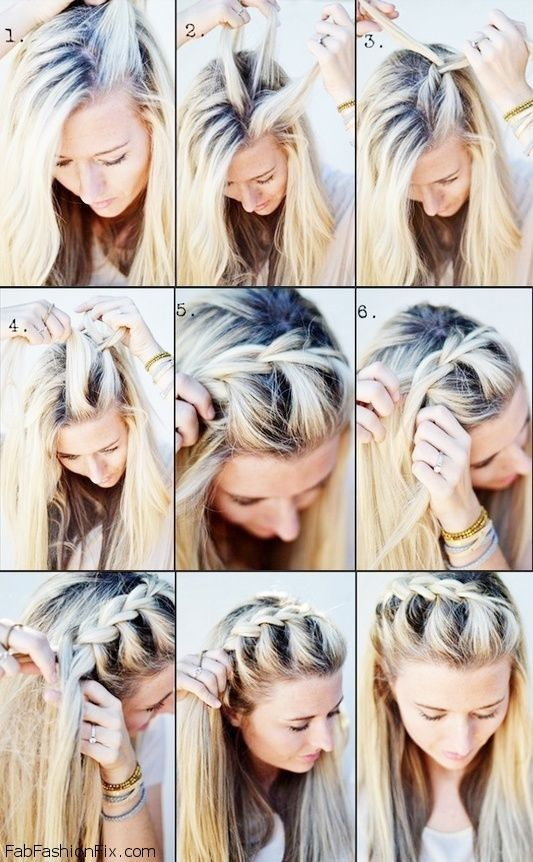 One-sided French braid hairstyle tutorial