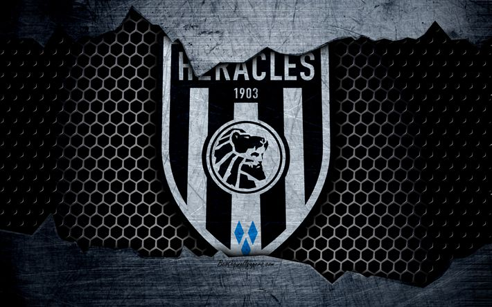 Download wallpapers Heracles, 4k, logo, Eredivisie, soccer, football club, Netherlands, Heracles Almelo, grunge, metal texture, Heracles FC