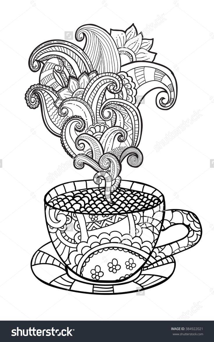 coffee or tea cup zentangle style coloring page 38491