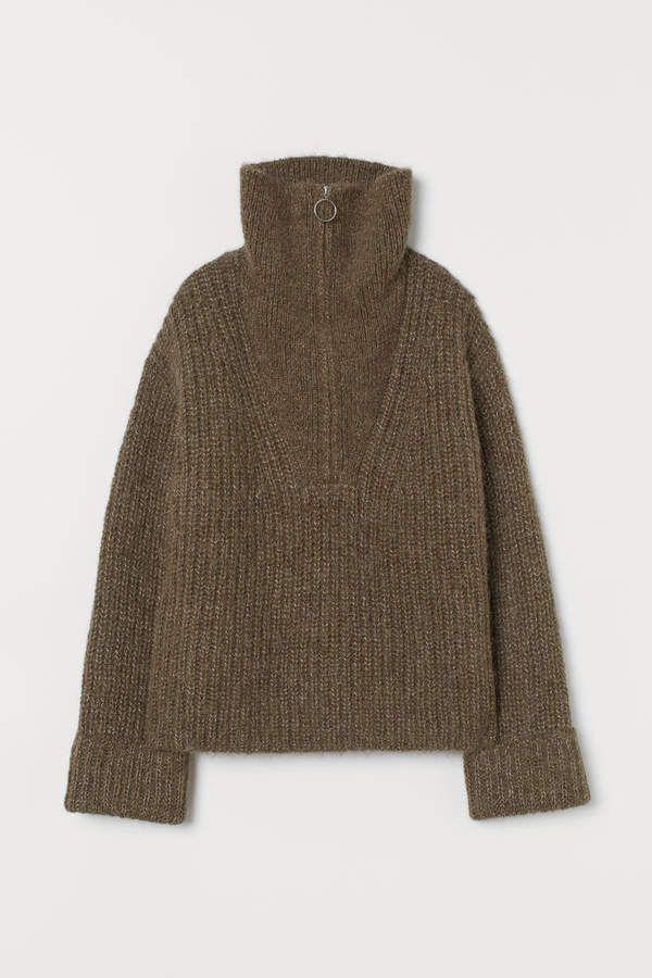 H&M Chunky knit Wool Sweater Green | Wool sweaters, Chunky