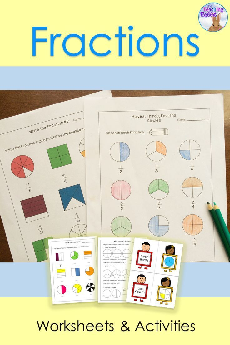 Use these fractions worksheets, posters (halves, thirds and fourths), word wall words, task cards, match game, and test to help your primary students learn fractions!